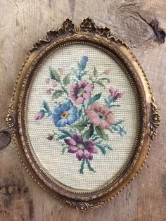 "Framed Vintage Floral Needlepoint, Handmade 'Hiawatha Heirloom"" on French Canvas, Gold Frame by ScavengerAesthetic on Etsy"