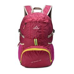 TOFINE Portable Backpack Large Hiking Travel Light Weight Foldable Waterproof Backpack Camping Gear 35L for Adult Men and Women Hot Pink ** Find out more about the great product at the image link.Note:It is affiliate link to Amazon.