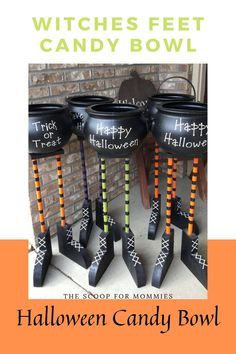 This bowl is a cute Halloween candy bucket with cauldron! A great Halloween home decor candy bowl ideas! Love the witches feet that hold the candy bucket in place. Halloween Wood Crafts, Cute Halloween Decorations, Halloween Home Decor, Halloween Signs, Halloween House, Halloween 2020, Holidays Halloween, Halloween Crafts, Halloween Halloween