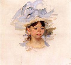 Ellen Mary Cassatt in a Big Blue Hat, Mary Cassatt c.1905 #american