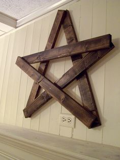 Use paint sticks or laths to make this cool star...i will use dark walnut stain and nail or staple togther and voila!