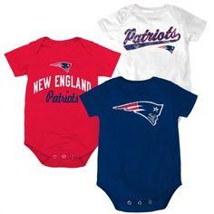 New England Patriots Newborn 3-Pack Tricolor Creeper Set - White/Red/Navy Blue - FansEdge.com