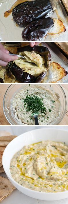 Baba Ganoush Recipe – It's made from roasted eggplants, tahini and garlic and tastes incredible! - Our Favorite Baba Ganoush (Roasted Eggplant Dip) Greek Recipes, Veggie Recipes, Appetizer Recipes, Vegetarian Recipes, Cooking Recipes, Healthy Recipes, Veggie Dips, Jalapeno Recipes, Delicious Appetizers