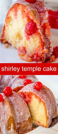 Shirley Temple Cake {A Twist on a Childhood Favorite} cake/ bundt cake/ cherry A light and delicious bundt, this Shirley Temple Cake will evoke the inner child in us. Full of lemon lime and cherry flavor this cake is truly addicting! via /tastesoflizzyt/ Just Desserts, Delicious Desserts, Dessert Recipes, Desserts With Cherries, Summer Cake Recipes, Cherry Deserts, Picnic Recipes, Health Desserts, Drink Recipes