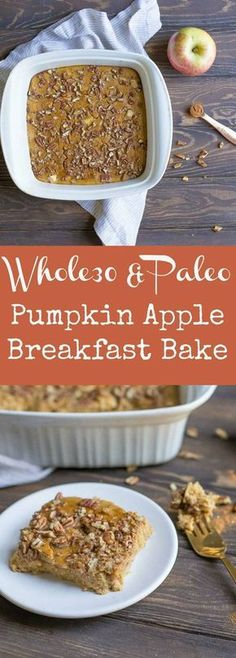 Pumpkin Apple Breakfast Bake: This simple Pumpkin Apple Breakfast Bake has all the yummy flavors of fall in one easy dish! Packed full of nutrients, healthy fats, and the perfect balanced nutritious breakfast! Paleo and compliant. Get the recipe here. Breakfast Desayunos, Pumpkin Breakfast, Nutritious Breakfast, Easy Paleo Breakfast, Whole 30 Breakfast Casserole, Breakfast Food Recipes, Breakfast Potatoes, Whole Foods, Paleo Whole 30