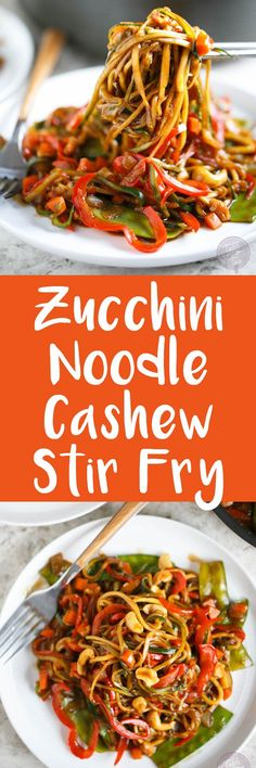 This easy zucchini noodle cashew stir fry made with The Inspiralizer will have you licking your plate clean! Dinner comes together in less than 30 minutes and you'll want to put this sauce on every meal! #inspiralizer