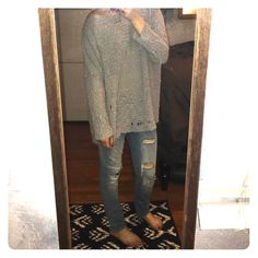Foreign Exchange Oversized Gray Sweater Oversized gray sweater, cute with leggings or jeans. Foreign Exchange Sweaters