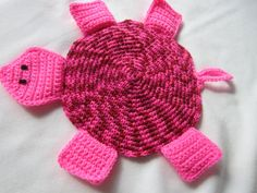 RESERVED  Turtle Hot Pad Crocheted Pink and by crochetedbycharlene