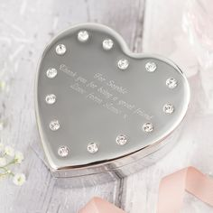 Engraved Diamanté Heart-Shaped Jewellery Box | GettingPersonal.co.uk
