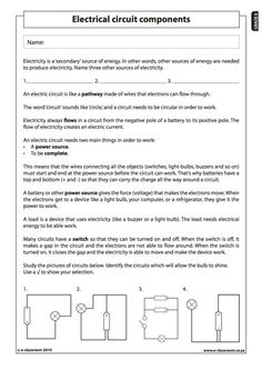 Electrical circuit components - Natural Science Worksheet (Grade 6)