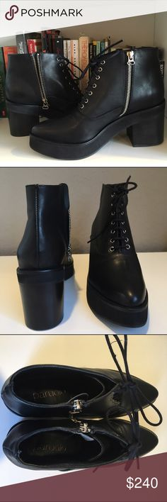 Black leather lace up boots Black genuine leather from Paruolo. Argentinian brand leather. New, never used, just to try on. Size 37 (7). Lace up, and zipper on the side. Platform boots. Chunky heel. Platform is 1 inch and heel is 2.5. Paruolo Shoes Ankle Boots & Booties