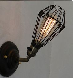 Edison Vintage Cage Wall Mount Light Finished Rustic Wall Sconce RH Loft Lighting Home Up or Down (5)
