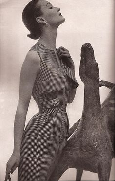 gingham dress by mainbocher, 1952. photo by richard avedon