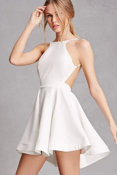 Twirl away in this textured woven fit and flare mini dress by Selfie Leslie which features a backless design adjustable cami straps a high neckline and an exposed back zi. Grad Dresses, Homecoming Dresses, Sexy Dresses, Cute Dresses, Short Dresses, Fashion Dresses, Wedding Dresses, Fashion Clothes, Scarlett Leithold