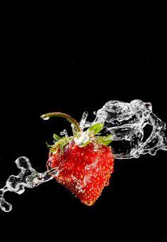 Water splashed strawberry