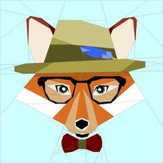 """Hipster Fox Paper Piecing 14"""" pattern quiltartdesigns.blogspot.com"""