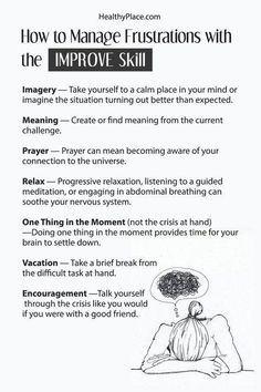 You can manage frustrations with confidence by using this DBT skill to help you feel in control. DBT's IMPROVE skill helps turn your mind around. Therapy Worksheets, Therapy Activities, Homeschool Worksheets, Money Worksheets, Budgeting Worksheets, Phonics Worksheets, Alphabet Worksheets, Mental And Emotional Health, Mental Health Awareness