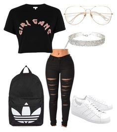 """Untitled #57"" by aikoedith on Polyvore featuring River Island, adidas Originals and Topshop"