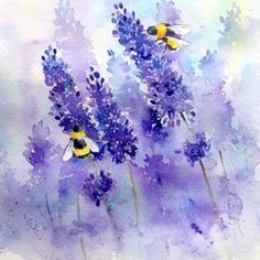40 Very Easy Watercolor Painting Ideas For Beginners - FeminaTalk watercolor art 55 Very Easy Watercolor Painting Ideas For Beginners - FeminaTalk Lavendar Painting, Lavender Paint, Simple Oil Painting, Bee Painting, Watercolour Painting, Watercolor Canvas, Watercolours, Watercolor Paintings For Beginners, Watercolor Projects