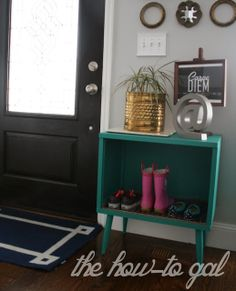 A small cabinet repurposed for shoe storage and finished in Florence Chalk Paint® decorative paint by Annie Sloan | By The How-To Gal: A Shoe Storage Solution with Chalk Paint® decorative paint by Annie Sloan