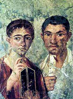 Portrait of the baker Terentius Neo with his Wife found on the wall of a Pompeii house.  1st Century