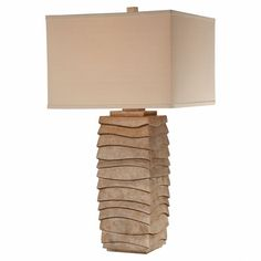 One-Light Table Lamp with Cream Linen Fabric Shade