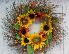 Sunflower Wreath  Fall Wreath  Primitive Fall  by Designawreath