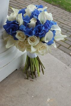 Blue Wedding Flowers Our blue hydrangea, white roses and white calla lilies bridal bouquet Calla Lily Bridal Bouquet, Hydrangea Bouquet Wedding, Blue Wedding Flowers, Blue Bouquet, Bridal Flowers, Wedding Bouquets, Bridesmaid Bouquets, Pretty Flowers, Blue Flowers