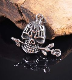 Vintage Rose & Skull 316L Stainless Steel Pendant Necklace