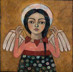Paintings For Sale - Heartstrings Original Painting by Teresa Kogut by Teresa Kogut at ArtsyHome Colonial Art, Ange Demon, Angeles, Angel Art, Christian Art, American Artists, Canvas Art Prints, Canvas Artwork, Folk Art