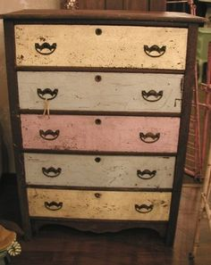 Muted Shabby Chic Dresser...pastel yellows, tans, & pinks.