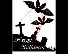 Deko Halloween - Friedhof + Fledermäuse - Milchglas-Tattoo - ein Designerstück von CatrinKerschl bei DaWanda