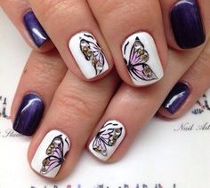 Beautiful nails 2016, Butterfly nails, Glitter nails, Nails ideas 2016, Nails with rhinestones ideas, Pearl nails, Romantic nails, Spring nail art