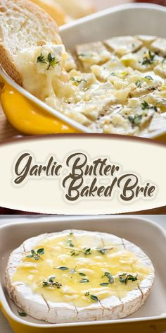 Garlic Butter Baked Brie – Cooking with ingredients around us Baked Brie Appetizer, Yummy Appetizers, Appetizer Recipes, Brie Cheese Recipes, Baked Brie Recipes, Donut Recipes, Food Porn, Appetisers, Queso