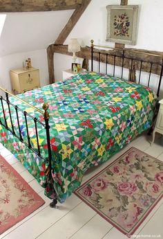Vintage Home - Colourful Log Cabin Star Design Patchwork Quilt: www.vintage-home.co.uk