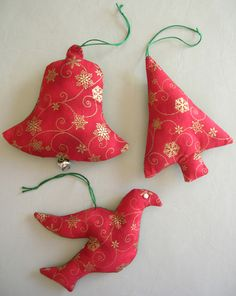 Sewn and beaded fabric Christmas ornaments