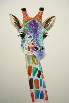 Giraffe painting. | Watercolour painting of a colourful gira… | Flickr