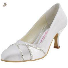 Elegantpark EP2021 Women's Round Toe High Heel Rhinestones Satin Wedding Bridal Pumps Shoes Ivory US 7 - Elegantpark pumps for women (*Amazon Partner-Link)