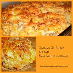 Beef Doritos Casserole: 1 lb lean ground beef 1 onion diced taco seasoning 2 TBSP Cook this together. Now add 1 can cream of chicken soup 1 can of mild Rotel, drained Other ingredients needed: Doritos 3 cups Mexican blend shred cheese sour cream Doritos Casserole, Beef Casserole Recipes, Ground Beef Casserole, Cornbread Casserole, Casserole Pan, Hamburger Recipes, Chicken Casserole, Mexican Dishes, Mexican Food Recipes