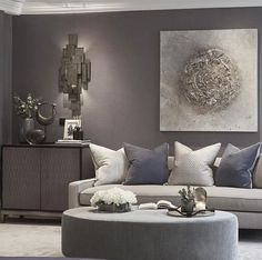 Various shades of grey in this sitting room of the master bedroom at the Wentworth project Spacious Living Room, Living Room Sofa, Interior Design Living Room, Living Room Furniture, Living Room Designs, Living Room Decor, Relaxation Room, Relaxing Room, Contemporary Interior Design