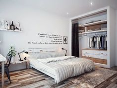 The Wonderful Modern Bedroom Interior Design with Serene White Walls Designed Sparsely with Poetic Home Bedroom, Bedroom Decor, Bedroom Ideas, Master Bedroom, Bedroom Furniture, Casual Bedroom, Wooden Bedroom, Bedroom Wardrobe, Bedroom Curtains