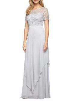 Alex Evenings Silver Lace Bodice Gown