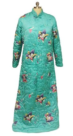 VINTAGE ELIZABETH ARDEN TORRI RICHARD RARE FLORAL QUILTED ROBE DRESSING GOWN  FROM HONG KONG Vintage Quilts ce95e8a2b