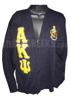 ALPHA KAPPA PSI CREST CARDIGAN SWEATER WITH GREEK LETTERS, NAVY  Item Id: PRE-CSR-AKY-LTR_CREST_NVY    Price: $129.00