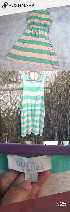 Olive & Oak Cream Teal Striped Sleeveless Dress * Olive & Oak Blue & Cream Striped Sleeveless Dress from Nordstrom. * Size small. * Made of 95% rayon & 5% spandex. * Pre-owned, but in excellent condition.No holes, stains or pilling.  * Measurements: Underarm to underarm is 18 inches. Length is 33 inches. Waist is 16 1/2 inches. Olive & Oak Dresses Midi