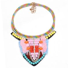 Beads and Threads Combined Bohemian Floral Pattern Fashion Costume Necklace - Pink