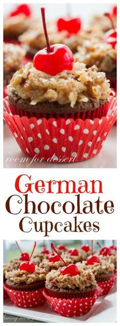 German Chocolate Cupcakes -This is a lovely, chocolaty, moist cake with a nutty coconut frosting that's surprisingly not overly sweet