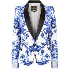ROBERTO CAVALLI Wedgewood Print Jacket (281525 RSD) ❤ liked on Polyvore featuring outerwear, jackets, blazers, coats, blue patn, print jacket, one button jacket, roberto cavalli, pattern jacket and roberto cavalli blazer