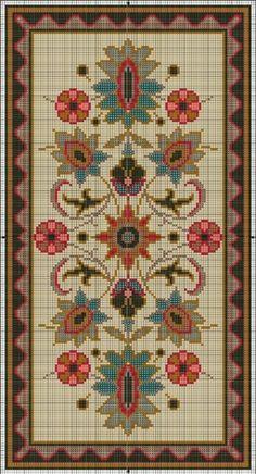 Miniature Rug Pattern 1 of 2 Cross Stitch Bird, Cross Stitch Borders, Cross Stitch Samplers, Cross Stitch Flowers, Cross Stitch Charts, Cross Stitch Designs, Cross Stitching, Cross Stitch Embroidery, Hand Embroidery