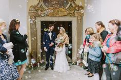 bubble recessional - photo by Thomas Steibl http://ruffledblog.com/an-austrian-castle-wedding